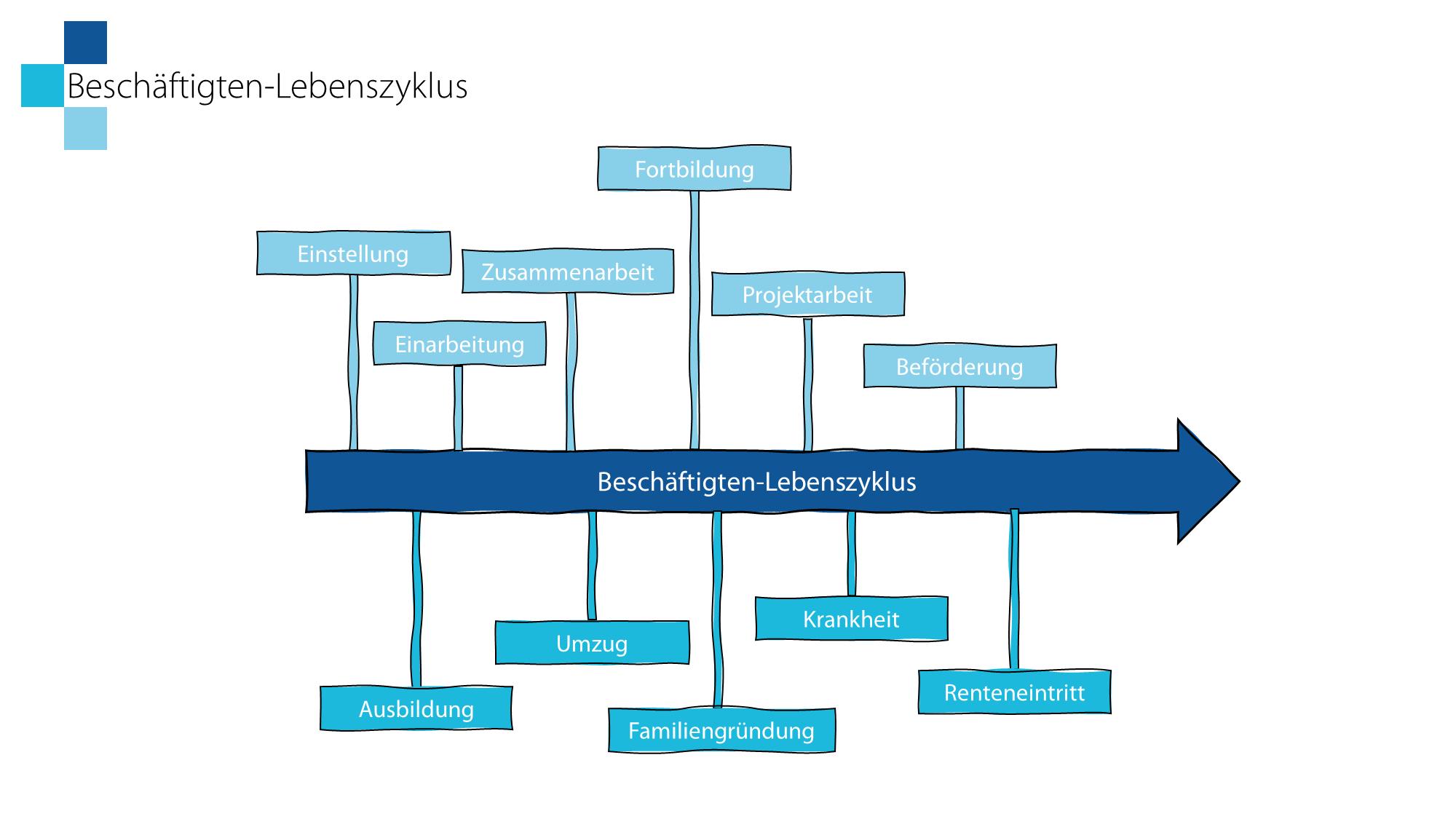 Schritt 3: Im Anschluss erklärt der LoDiLe den Beschäftigten-Lebenszyklus als Grundlage für die Ermittlung der Lernfelder.
